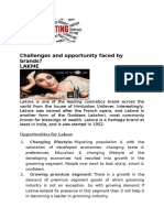 Challenges and Opportunity Faced by Various Brand