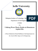 Utilizing Waste Plastic Bottles in Bituminous Asphalt Mix