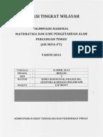 Biologi Seleksi ONMIPA Tingkat Wilayah 2015