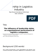 The Infulence of Leadership Styles on Organisational Performance of Logistics Company