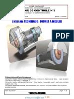 Devoir de Contrôle N°3 Avec correction - Génie mécanique guidage en rotation touret a meuler - 3ème Technique (2012-2013)