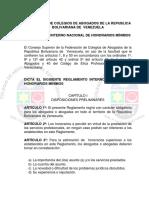 Reglamento Interno Nacional de Honorarios Mínimos
