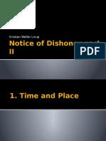 Notice of Dishonor Part II