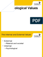 Psychological Values + motivation
