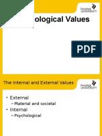 Psychological Values + motivation