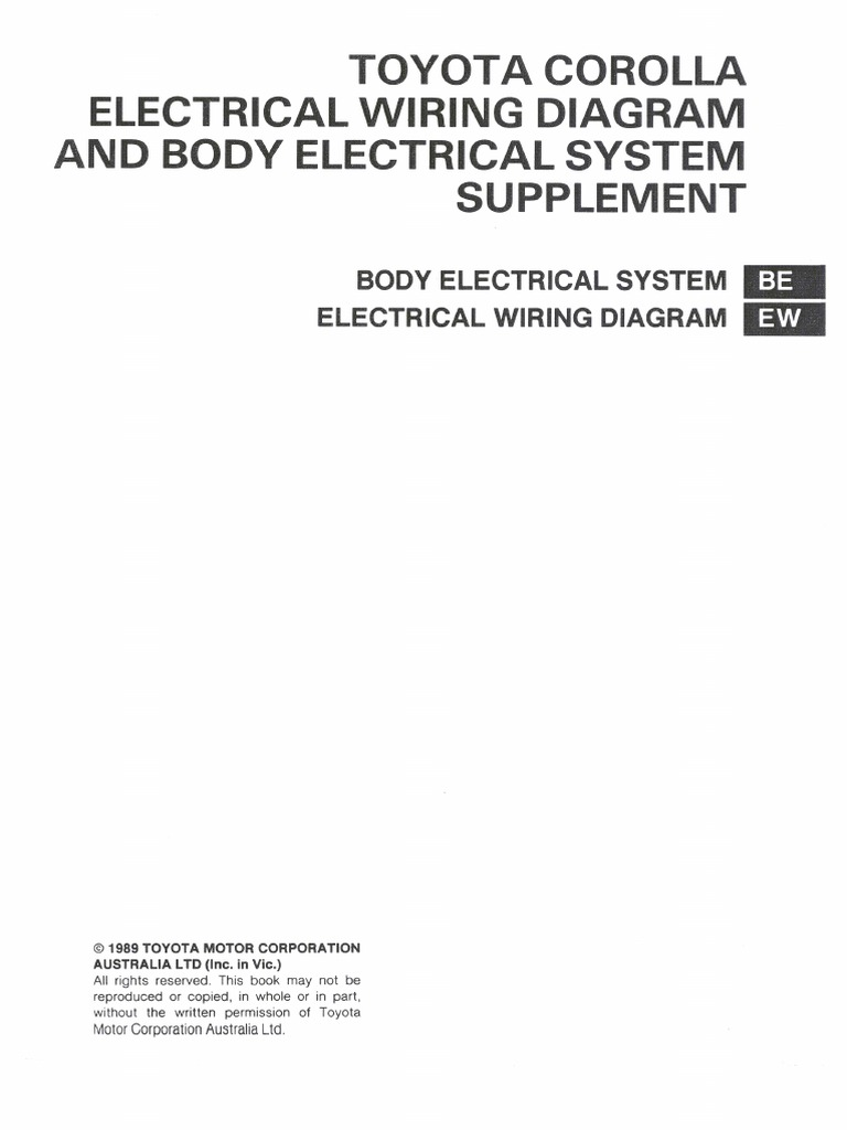 1991 Toyota Corolla Electrical System Wiring Diagram Download