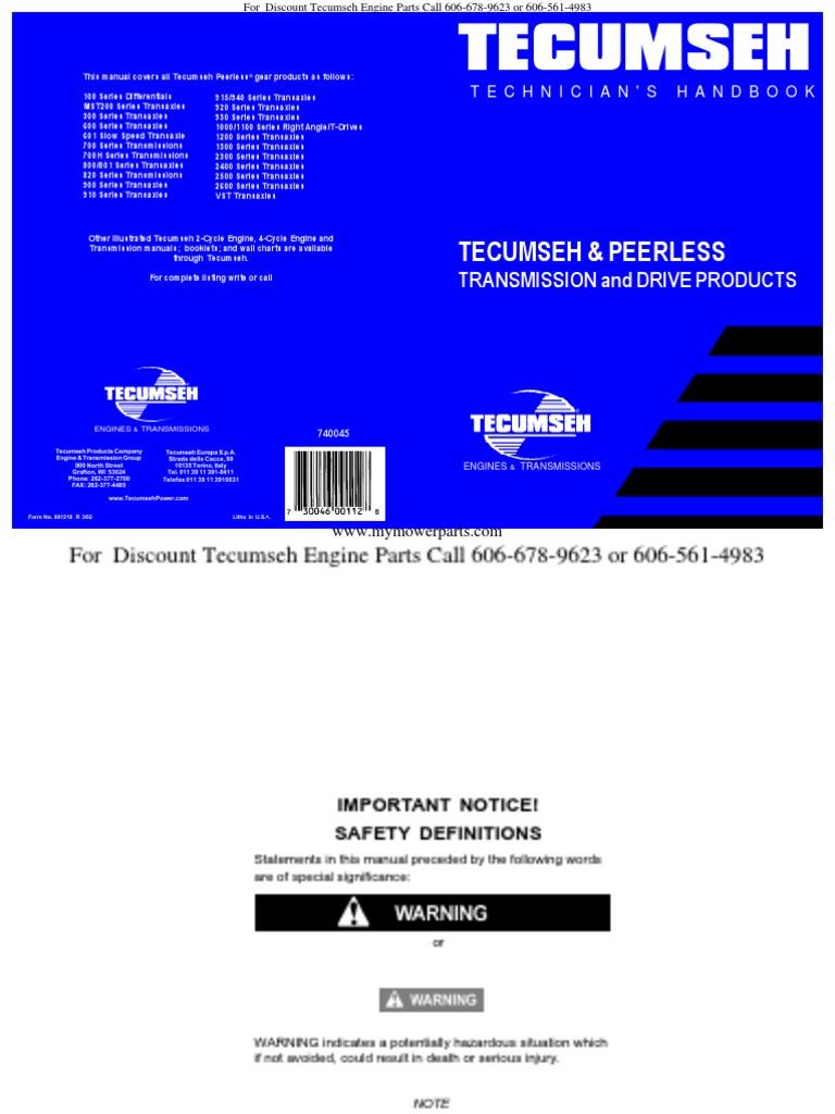 Tecumseh Peerless Transmission Transaxles Differentials Service