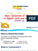 Topic 2 - Basic Conversion of SI Units to English and Vice Versa