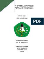 Belum Optimalnya Fungsi Kelembagaan Diindinesia
