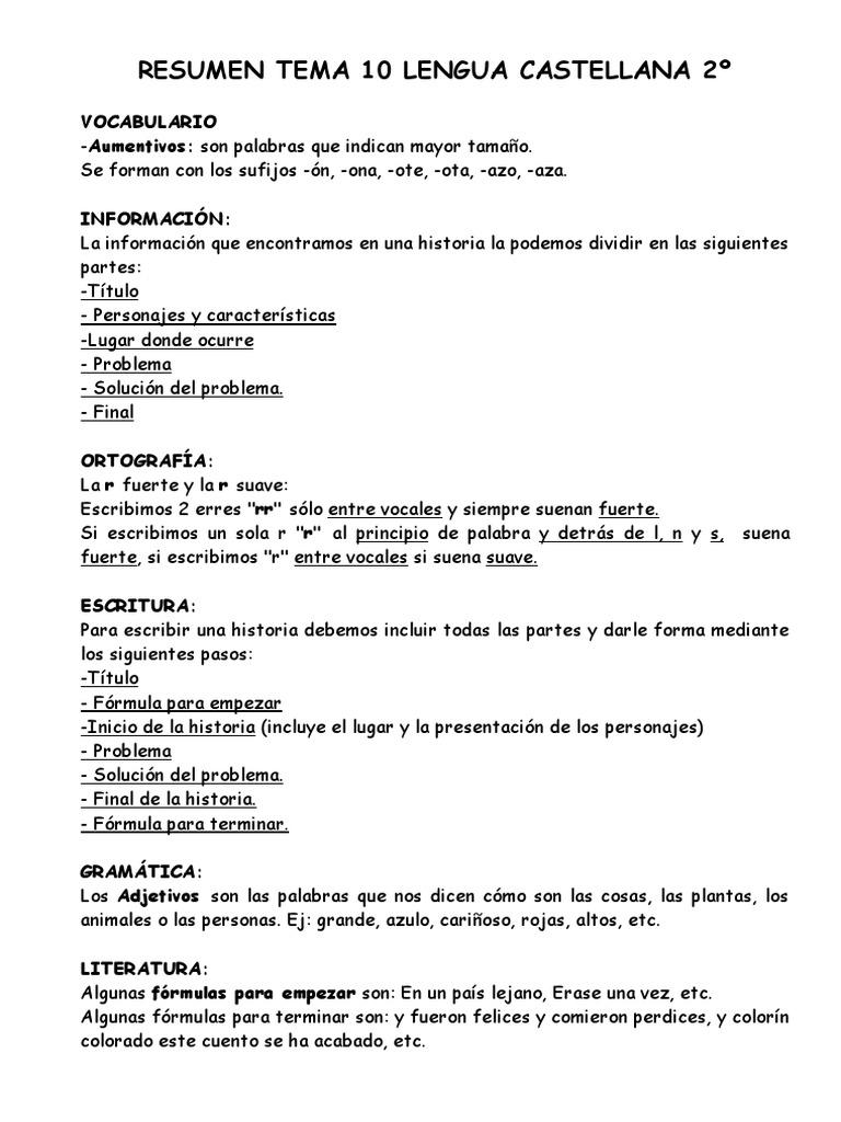 Resumen Tema 10 Lengua