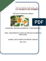 Conocimientos Acerca de Métodos de Medicina Tradicional