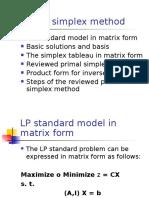Matrix Simplex Method