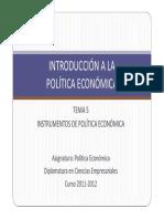 Tema 5 Instrumentos de Política Económica