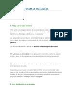 Chile y Sus Recursos Naturales