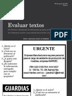 Evaluar textos ppt.
