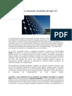 La Energía Solar en Venezuela. Escrito Por Alexis Romero