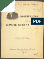 Robin, Paul - Degeneración de La Especie Humana [Biblioteca Editorial Salud y Fuerza]