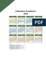 Calendario Academico Udabol 2016