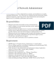 Systems and Network Administrator Position