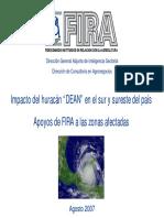 Impacto Del Huracan DEAN en El Sur y Sureste Del País Apoyos de FIRA a Las Zonas Afectadas