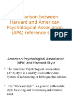 Comparison between Harvard and American Psychological Association (.ppt