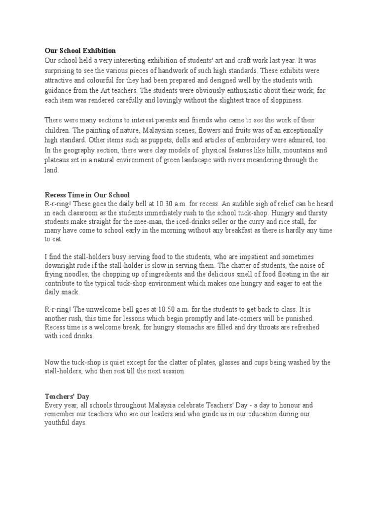 essay article about teachers day
