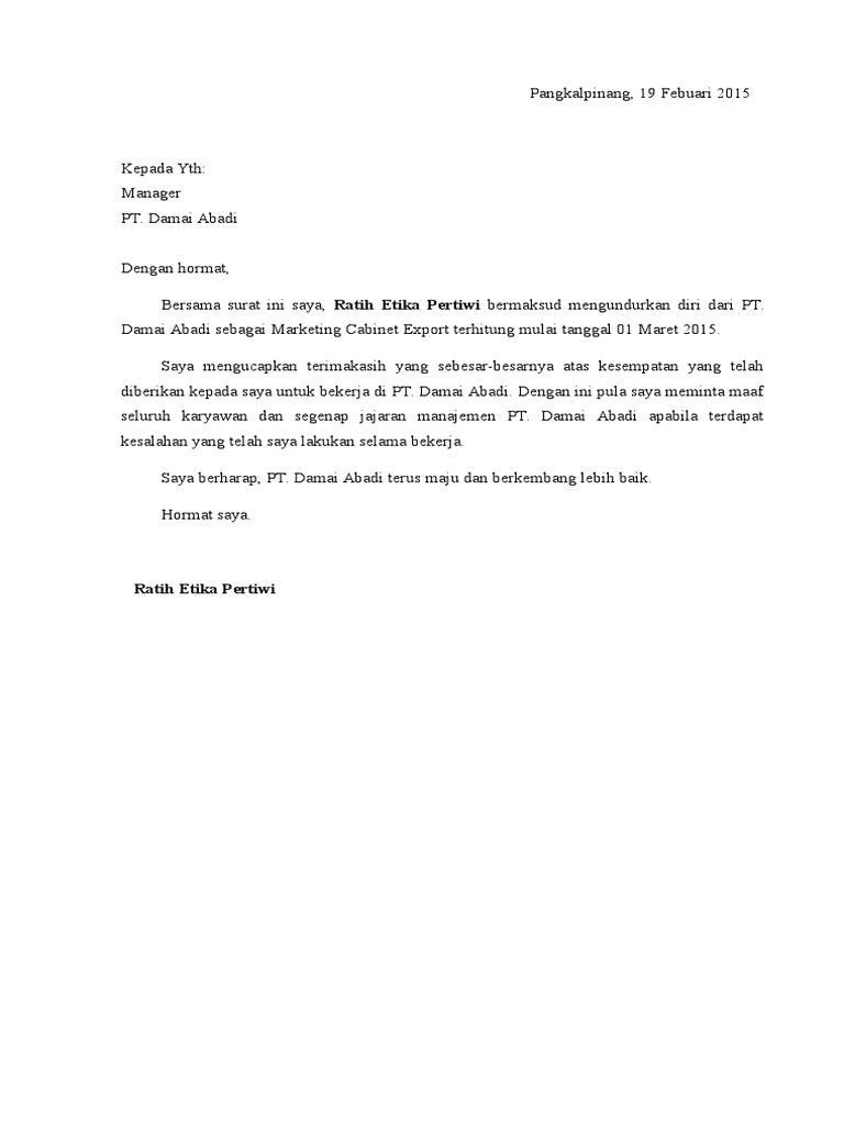 5 Contoh Surat Pengunduran Diri (Resign) Dari Tempat Kerja DOC