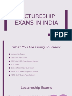 Lectureship Exams in India
