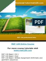 MAT 126 Professional Tutor
