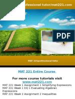 MAT 221 Professional Tutor