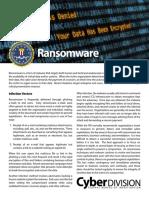 FBI Ransomware Info Sheet