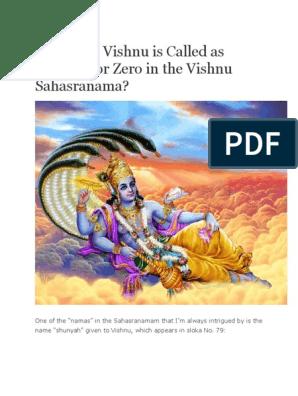 Why Lord Vishnu is Called as Shunyah or Zero in the Vishnu