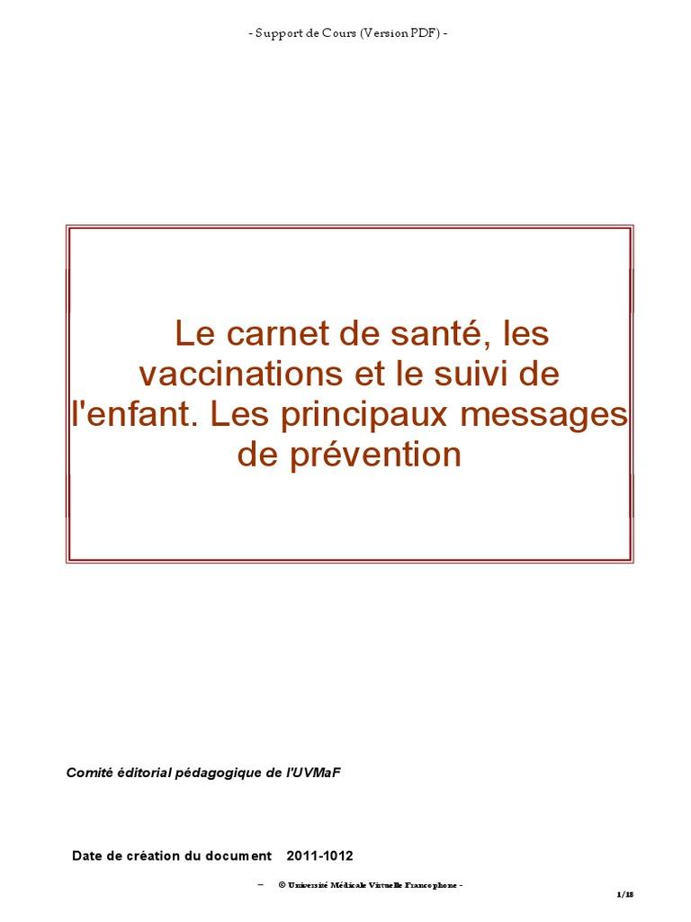 Le carnet de sant les vaccinations et le suivi de l 39 enfant les princip - Carnet de sante de l enfant ...