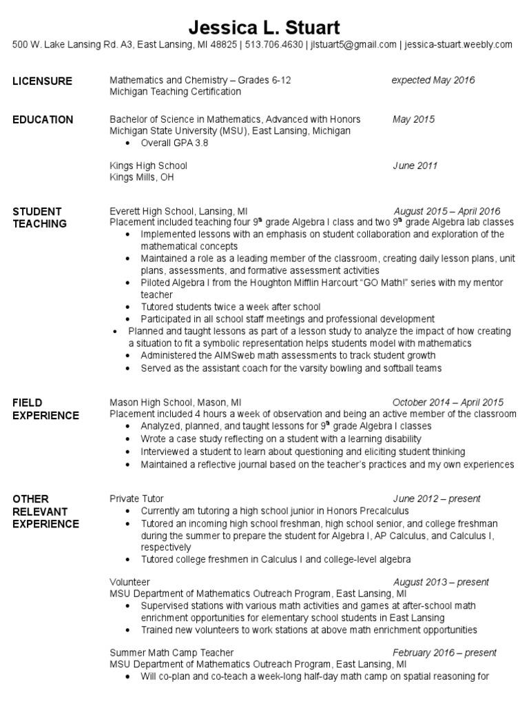 Resume Michigan State University Secondary School