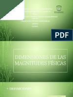 Dimensiones de Las Magnitudes Físicas