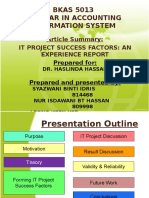 IT Project Success Factors From an Experience Report