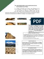 Lugares Que Han Sido Declarados Como Patrimonio de La Humanidad en El Perú