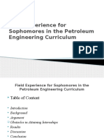 field experience in the petroleum engineering program