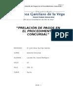 Prelación de Pagos en el Proceso Concursal