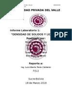 Desdidad de Solidos y Liquidos ensayo de laboratorio