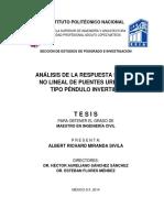 Análisis de La Respuesta Sísmica No Lineal de Puentes Urbanos Tipo Péndulo Invertido