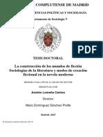 La construcción de los mundos de ficción Sociologías de la literatura - Andrés Lomeña Cantosy modos de creación ficcional en la novela moderna