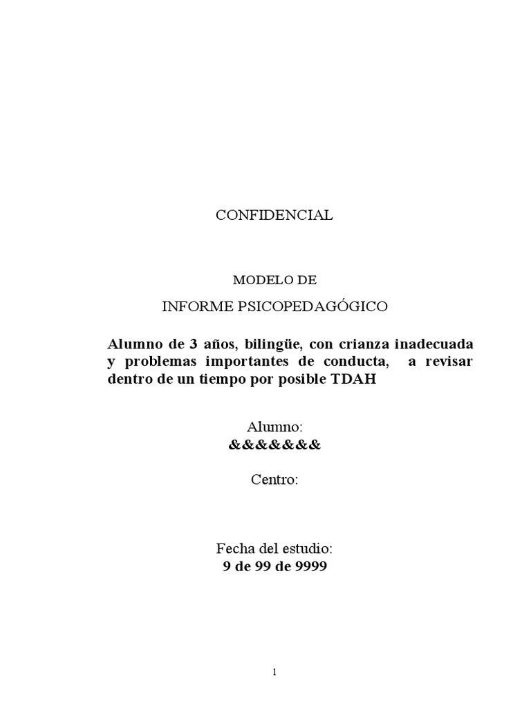 Modelo Informe Psicopedagógico alumno de 3 años con probable ...