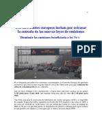 -Los Fabricantes Europeos Luchan Por Retrasar La Entrada de Las Nuevas Leyes de Emisiones
