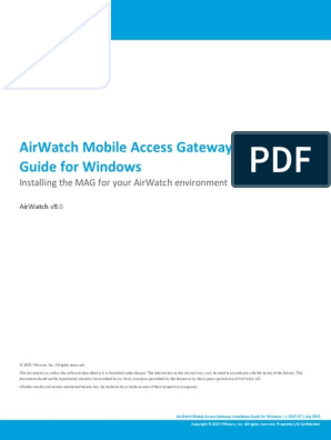 Airwatch Mobile Access Gateway Installation Guide For Windows