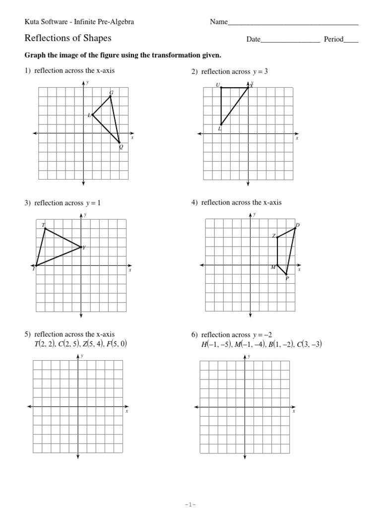 reflections of shapes | Cartesian Coordinate System | Algebra