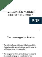 Motivation Across Cultures - Part 1& 2