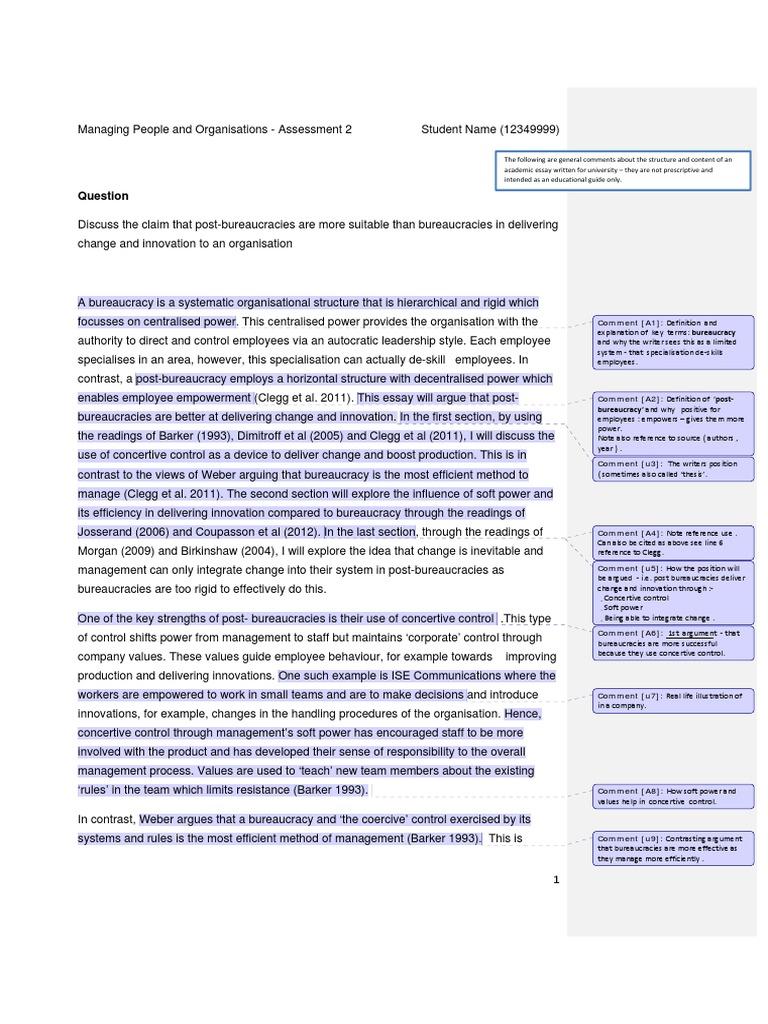 post bureaucracy vs bureaucracy sample essay business  post bureaucracy vs bureaucracy sample essay business bureaucracy innovation