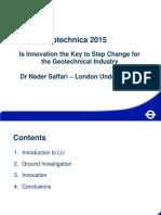 Geotechnica 2015 - Nader Saffari London Underground