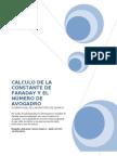 Galvanoplastia para calcular constante de Faraday y No. Avogadro.